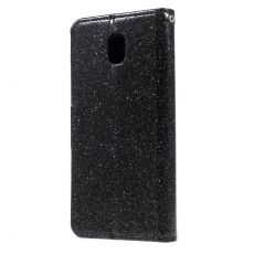 Luurinetti Galaxy J3 2017 suojalaukku Glitter black