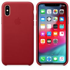 Apple iPhone Xs Leather Case red