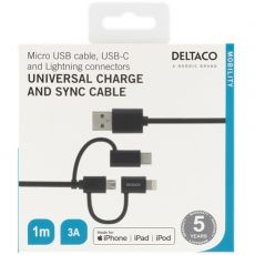Deltaco 3in1-USB-kaapeli 100cm black