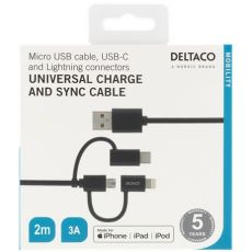 Deltaco 3in1-USB-kaapeli 200cm black