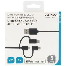 Deltaco 3in1-USB-kaapeli 200cm black