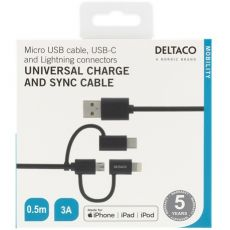 Deltaco 3in1-USB-kaapeli 50cm black