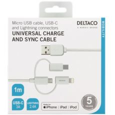 Deltaco 3in1-USB-kaapeli 100cm white