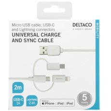 Deltaco 3in1-USB-kaapeli 200cm white