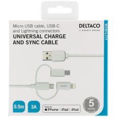 Deltaco 3in1-USB-kaapeli 50cm white