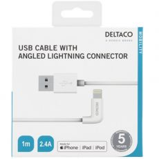 Deltaco USB - Lightning (kulma) -kaapeli