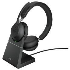 Jabra Evolve2 65 MS Stereo + teline + LINK380A (USB-A-adapterilla) black